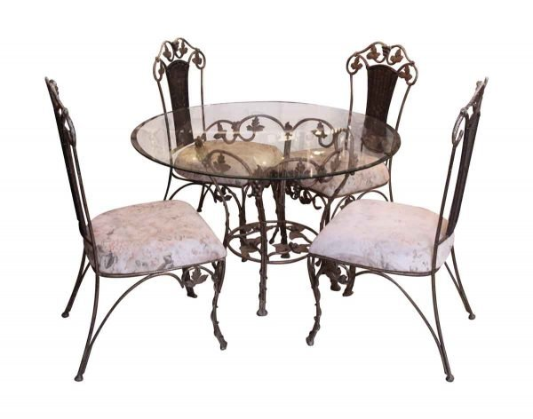 Vintage Floral Chairs & Glass Top Table Set