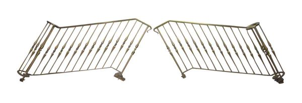 Complete Brass and Iron Stair Entry Railing with Newel Posts