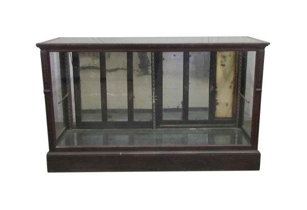 Dark Stained Carved Wood Showcase