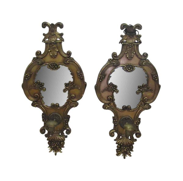 Pair of Mirrored Single Arm Sconces