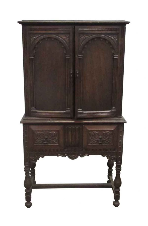 Oak Hutch Heavily Carved Cabinet