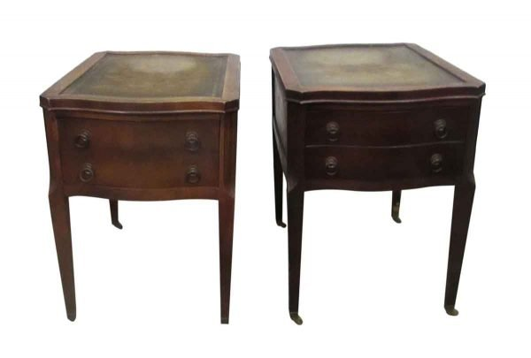 Leather Top Side Table with Drawers