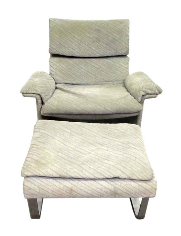 Mid Century Plush Upholstered Chair with Ottoman