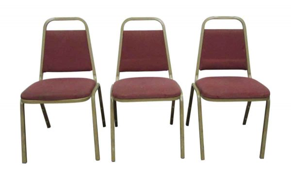 Cushioned Red Stackable Chairs