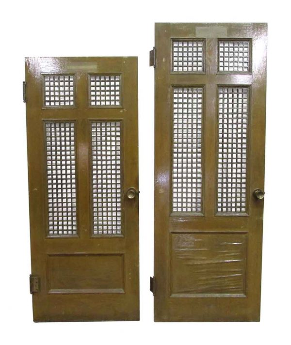 Office Doors with Wooden Grated Panels