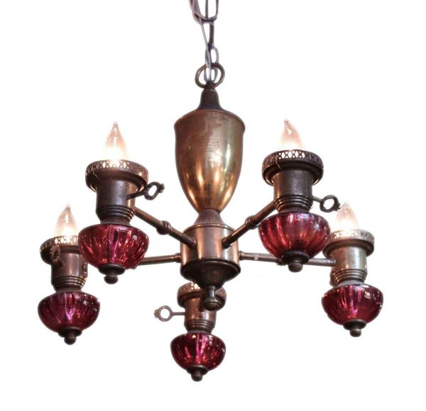 Brass Five Light Chandelier with Red Glass Detail