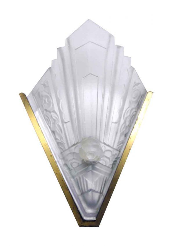 Art Deco Brass Sconce with Pointed Glass Shade