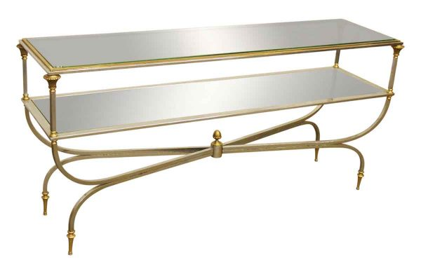 Brass & Nickel Two Tier Console Table