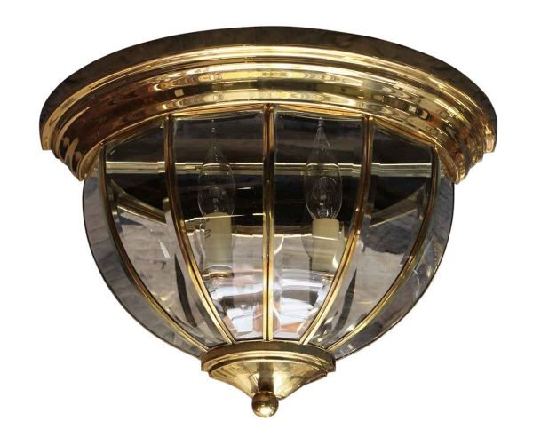 Brass Flush Mount Two Arm Wall Sconce