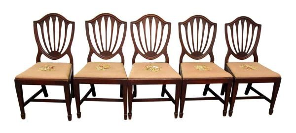 Set of Five Wooden Dining Chairs with Decorative Shell Backs