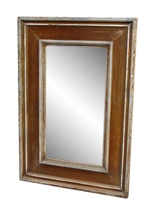 Brown Worn Wooden Beveled Mirror