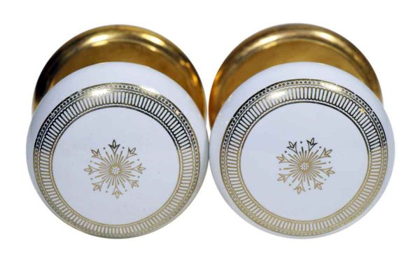 Set of Concentric & Center Star Motif Door Knobs by Gainsborough