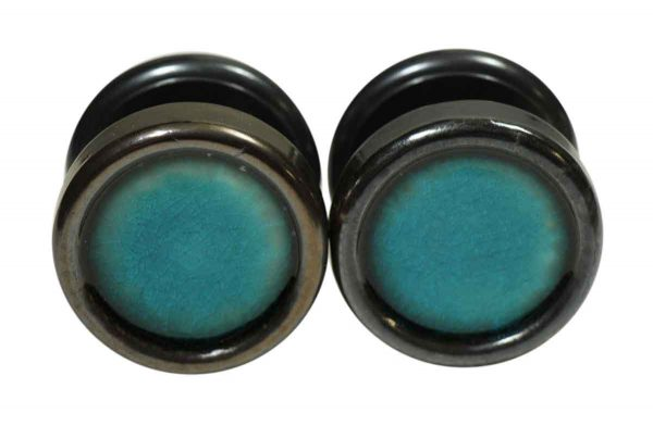 Mid Century Modern Enamel Teal Blue Gainsborough Door Knob Set