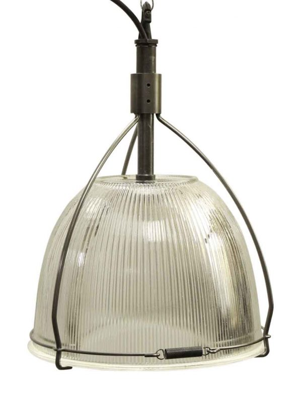 Industrial Holophane Glass Pendant Light