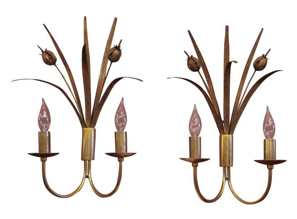 Pair of Two Arm Brass French Sconces