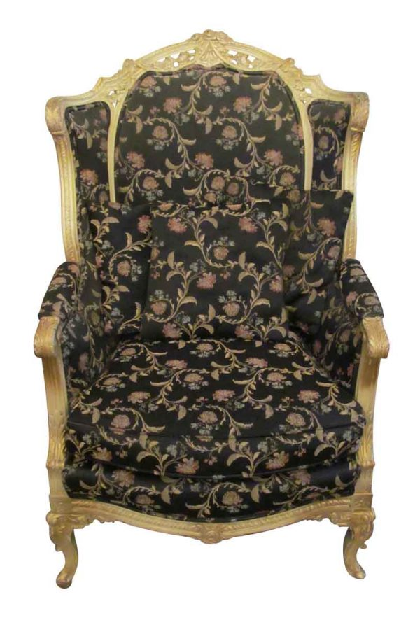 Floral Black Accent Chair