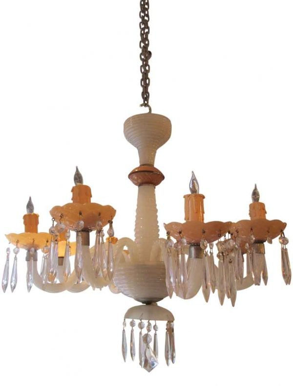 Pink & White Milk Glass Chandelier