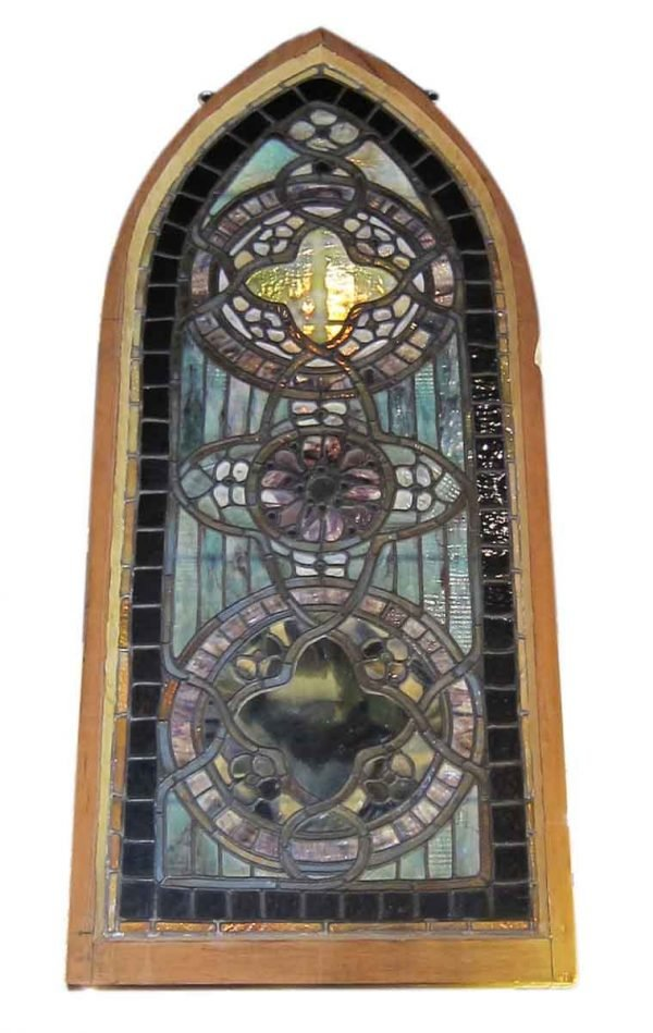Original Tiffany Stained Glass Gothic Arched Window