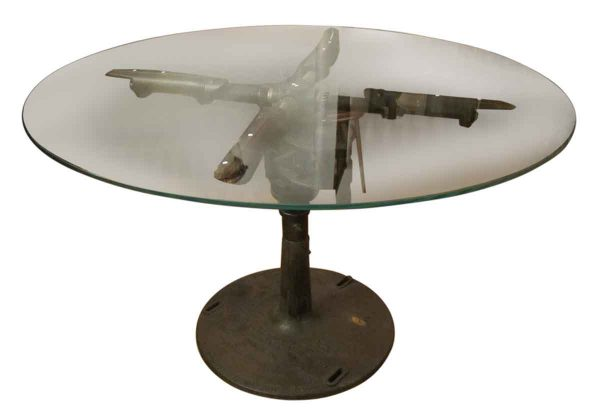 Repurposed Glass Top Industrial Machine Table