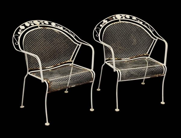 Pair of White Metal Garden Chairs