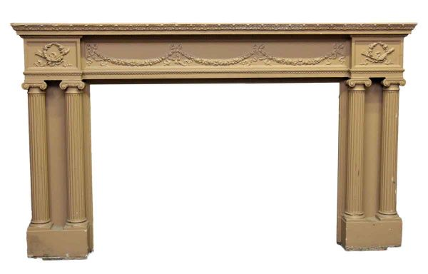 Painted Tan Wooden Mantel