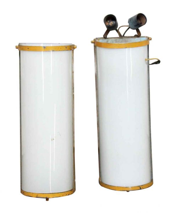 Pair of Long Curved Glass Industrial Sconces