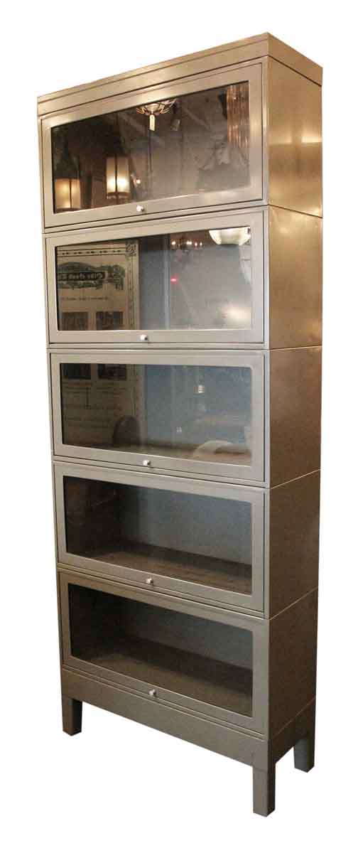 Gray Metal Barrister Bookcase