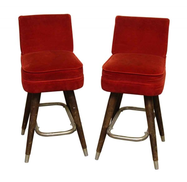 Set of Red Velvet Bar Stools
