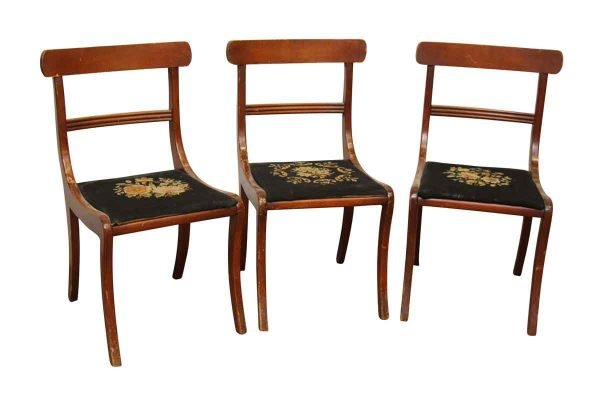 Set of Three Chairs with Floral Seats