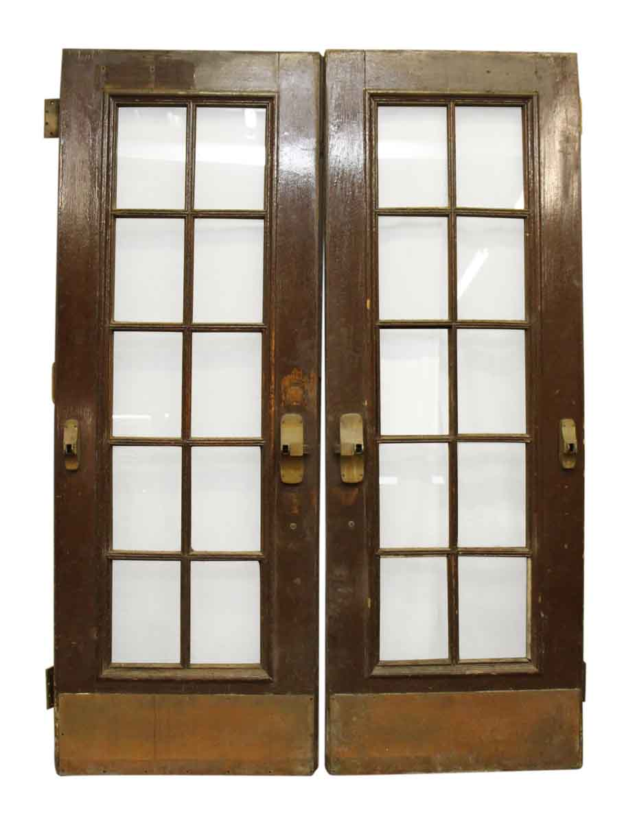 Double french doors with large bronze pulls kick plates for Double door french doors