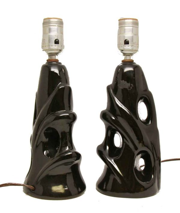 Pair of Black Mid Century Ceramic Table Lamps