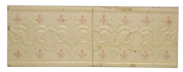 Pair of Pretty Pink & Cream Decorative Tiles