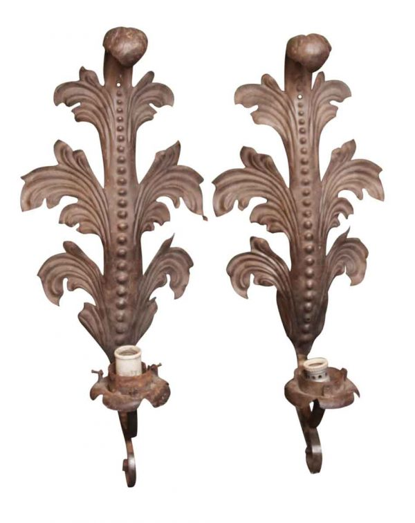 Pair of Art Nouveau Wrought Iron Sconces