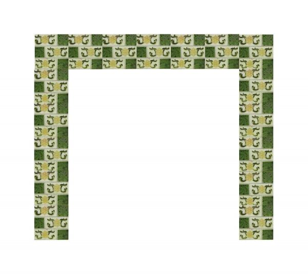 Yellow Green Floral Fireplace Surround