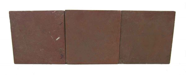 Set of Three Burgundy Matted Square Tiles