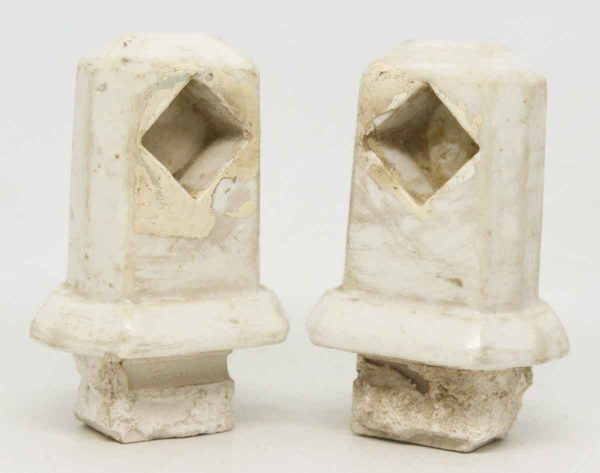 Pair of Very Worn White Porcelain Brackets