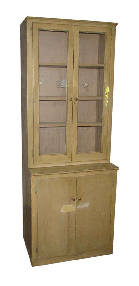 Tall Wooden Blonde Cabinet