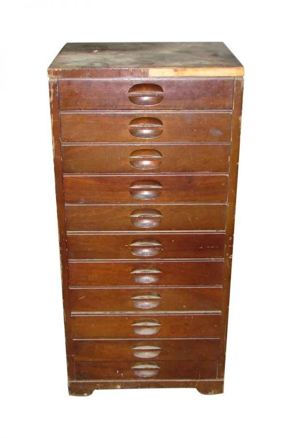 Narrow Wooden Library File Chest