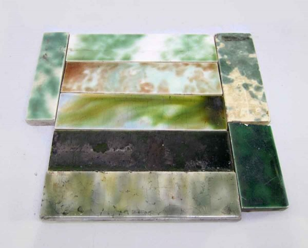 Set of 8 Green Assorted Tiles