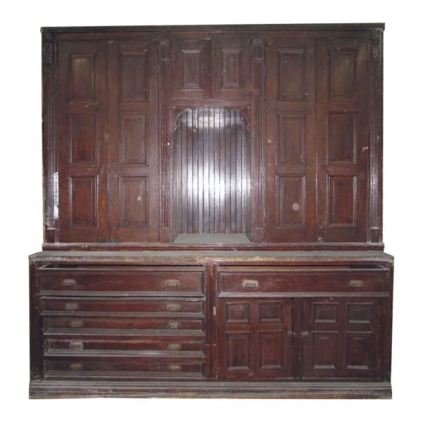Antique Chestnut Vestment Cabinet Great for Map