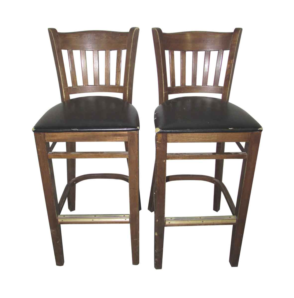 Very Impressive portraiture of  / Antique Furniture / Seating / Wooden Bar Stools with Slatted Backs with #7E6148 color and 1183x1200 pixels