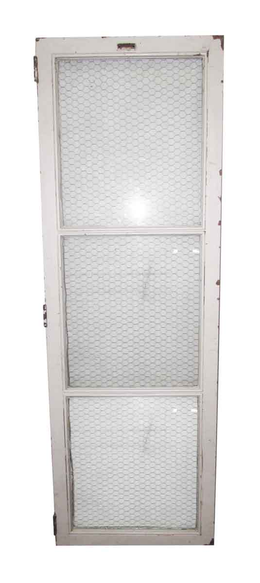 Three Glass Panel Metal Transom with Chicken Wire Glass