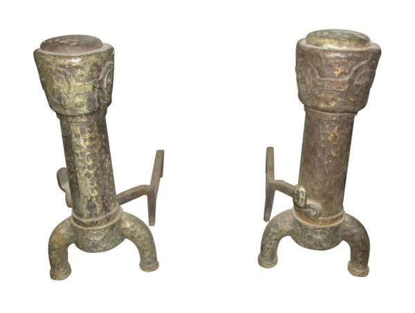 Hand Pounded Wrought Iron Andirons