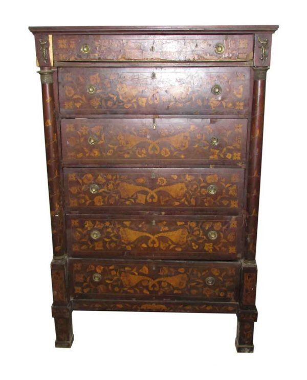 Tall Inlaid Dresser with Bronze Reliefs