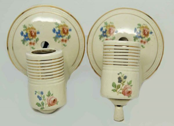 Set 1930s Floral Porcelain Sconces