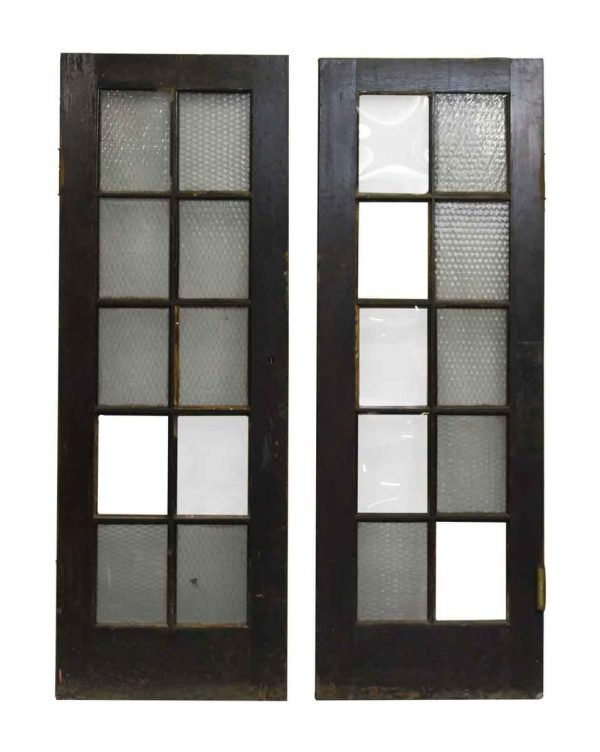 Pair of French Doors with 10 Lites Textured Glass