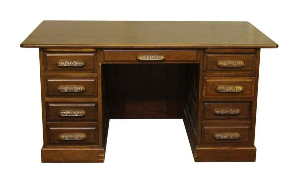 Wooden Desk with Carved Wood Pulls
