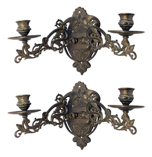Art Nouveau Brass Sconces with Adjustable Arms