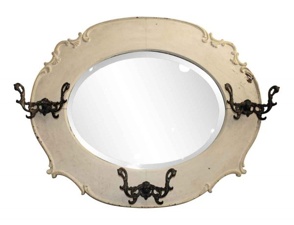 Victorian Wooden Beveled Mirror with Ornate Hooks