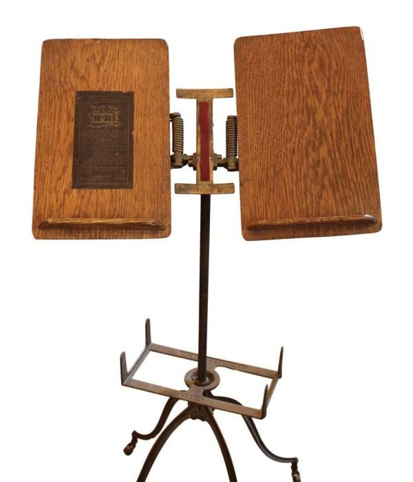 Wooden & Iron Book Stand on Casters